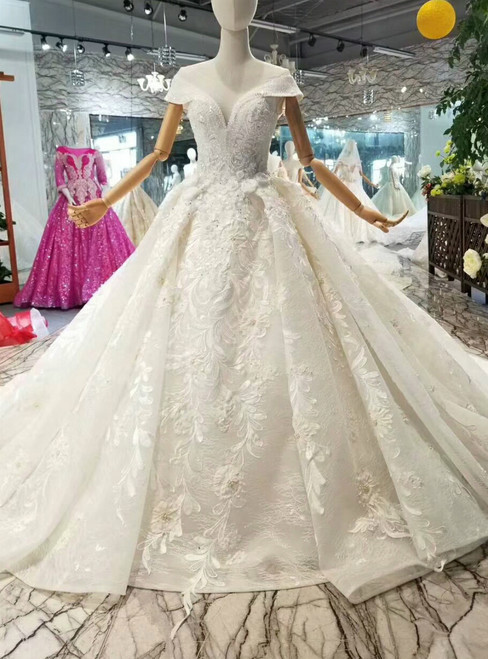 Ball Gown Lace Appliques Off The Shoulder Wedding Dress With Train
