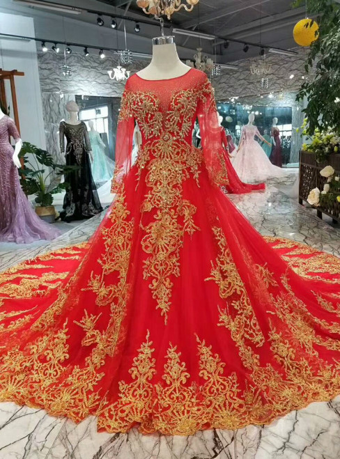 Red Ball Gown Tulle Gold Lace Appliques Long Sleeve Backless Wedding Dress With Train
