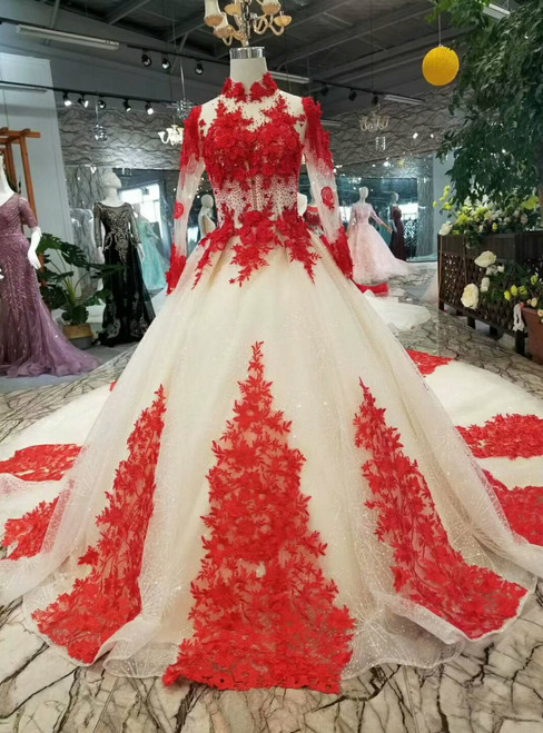 Champagne Bal Gown Tulle Red Lace Appliques High Neck Long Sleeve Wedding Dress