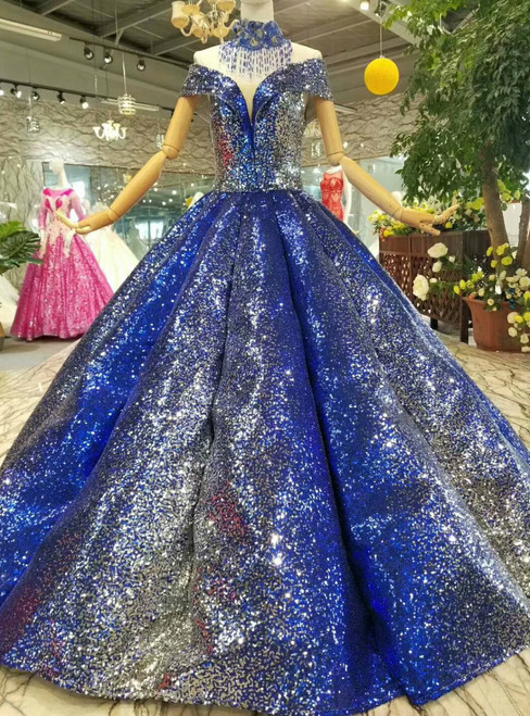 Ball Gown Blue Sequins Off The Shoulder Floor Length Wedding Dress