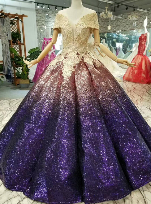 Pink Purple Ball Gown Sequins Appliques Off The Shoulder Wedding Dress