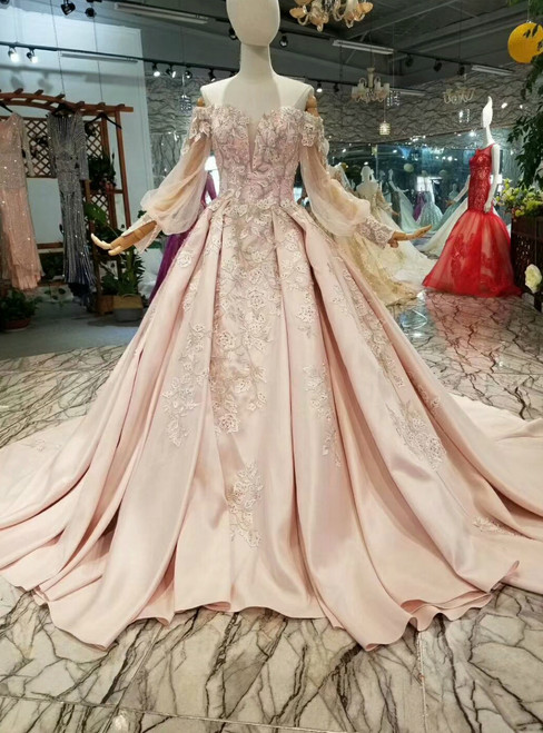 Pink Ball Gown Satin Appliques off The Shoulder Wedding Dress