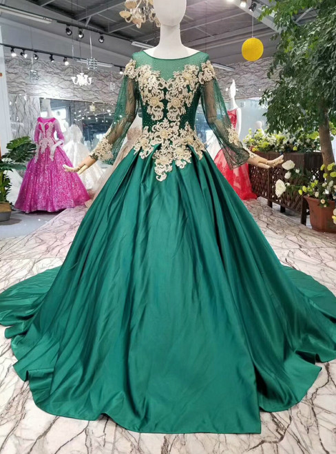 Green Ball Gown Satin Appliques Long Sleeve Wedding Dress With Beading
