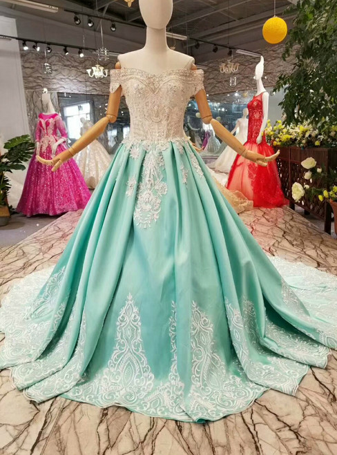 Blue Ball Gown Satin Lace Appliques Off The Shoulder Wedding Dress