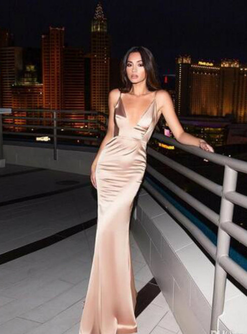 Cheap prom dresses 2017 Backless Mermaid Evening Dresses Sexy Deep V