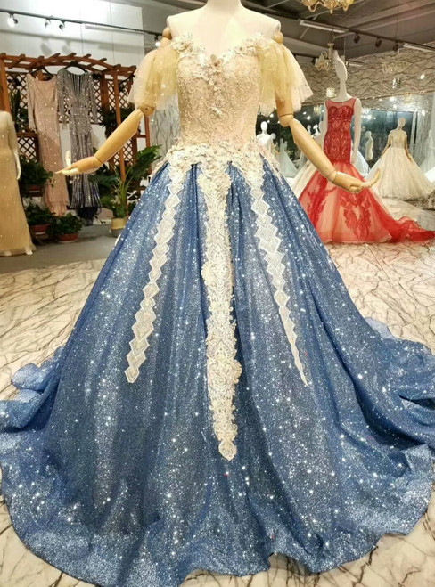 Blue Ball Gown Sequins Lace Appliques Off The Shoulder Wedding Dress
