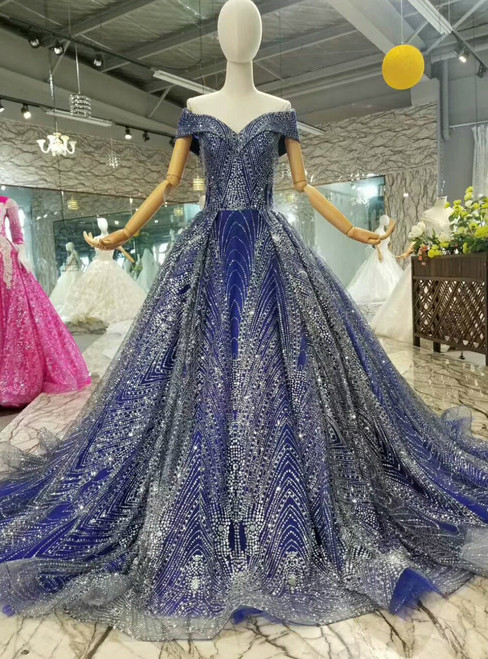 Blue Tulle Ball Gown Bling Bling Sequins Off The Shoulder Wedding Dress