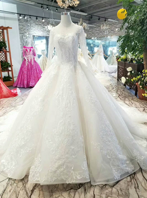 Ball Gown Tulle Appliques Long Sleeve Beading Wedding Dress With Train