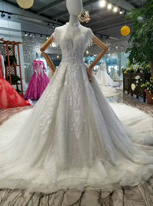 Ball Gown Tulle Lace Applique Sequins High Neck Cap Sleeve Wedding Dress With Beading