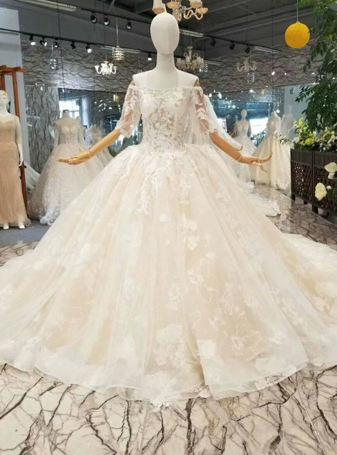 Champagne Ball Gown Tulle Lace Short Sleeve Off The Shoulder Wedding Dress