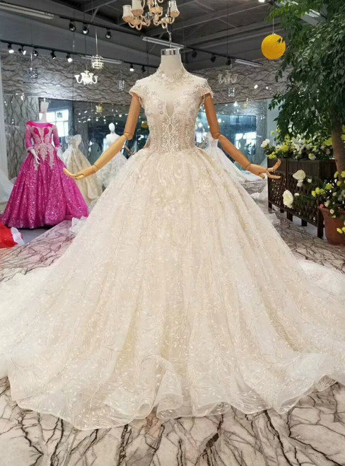 Champagne Tulle Lace Appliques High Neck Backless Wedding Dress With Train