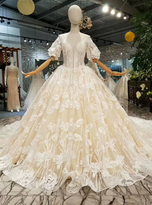 Champagne Ball Gown Tulle Lace Bateau Puff Sleeve Wedding Dress With Long Train