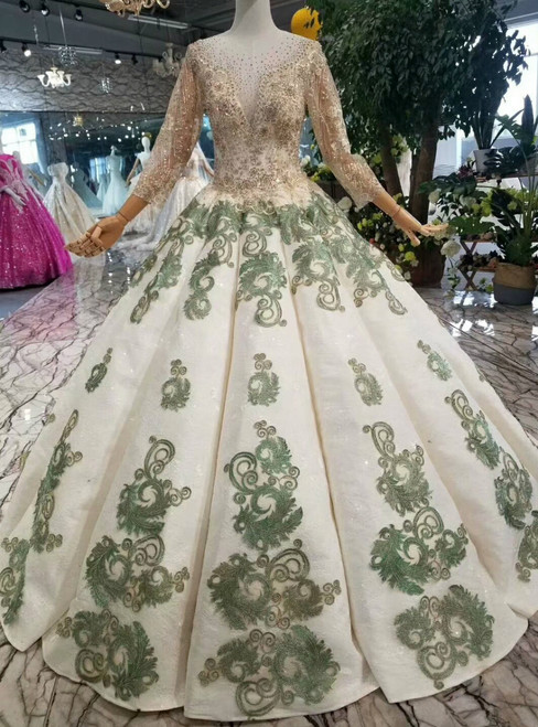Champagne And Green Appliques Long Sleeve Beading Floor Length Wedding Dress