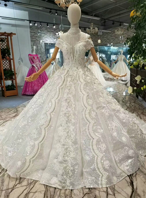Ball Gown Sequins Appliques Off The Shoulder Wedding Dress With Train