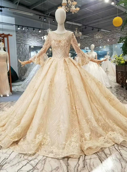 Champagne Gold Lace Tulle Long Sleeve Bateau Wedding Dress With Beading