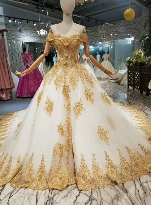 Ball Gown Tulle Gold Lace Appliques Off The Shulder Wedding Dress With Train