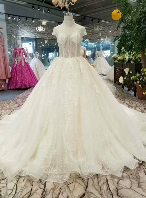 Ball Gown Tulle Sequins High Neck Backless Cap Sleeve Wedding Dress