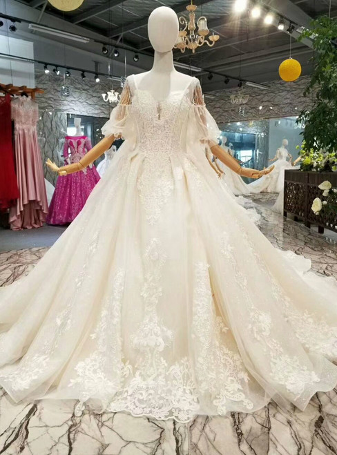 Champagne Tulle Sequins Sweetheart Puff SLeeve Backless Wedding Dress