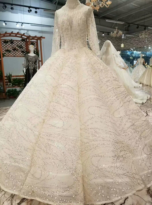 Champagne Tulle Sequins Bling Bling High Neck Long Sleeve Wedding Dress With Beading