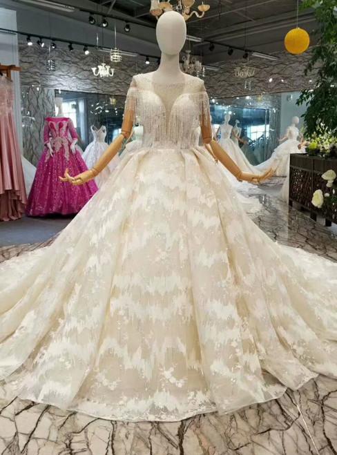 Champagne Ball Gown Sequins Lace Appliques Bateau Cap Sleeve Wedding Dress