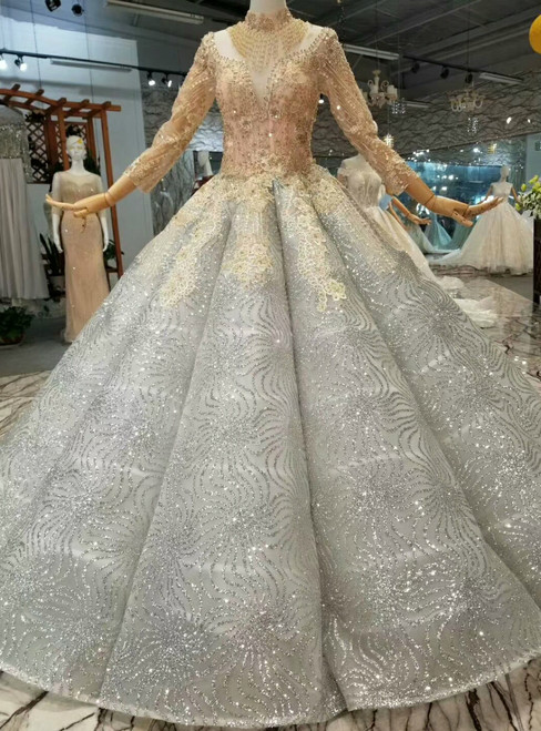 Silver Gray Sequins Ball Gown High Neck Long Sleeve Wedding Dress With Beading