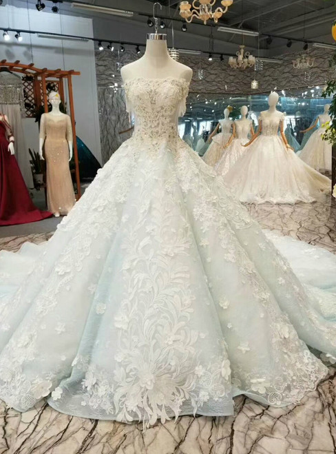Blue Ball Gown Strapless Appliques Beading Haute Couture Wedding Dresses
