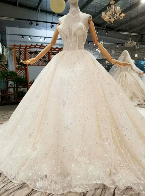 Light Champagne Tulle Sequins Sweetheart Beading Wedding Dress With Long Train
