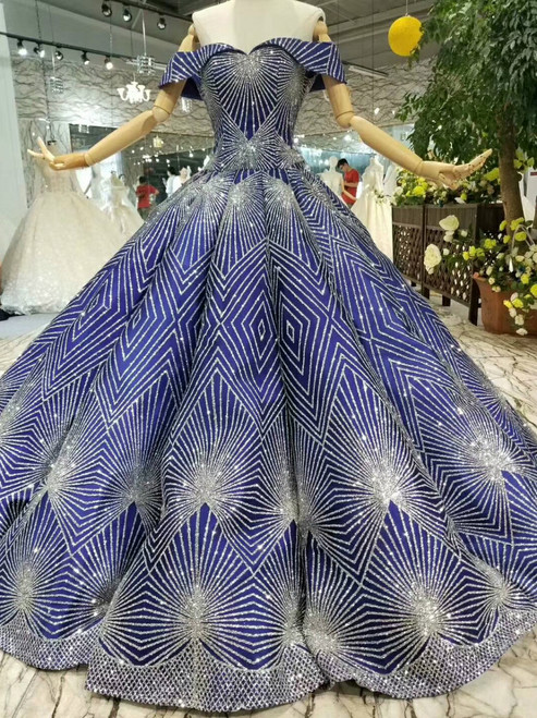 Blue Ball Gown Sequins Bling Bling Off The Shoulder Wedding Dress