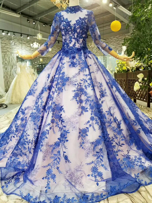 Blue Lace Appliques High Neck Long Sleeve Wedding Dress With Beading