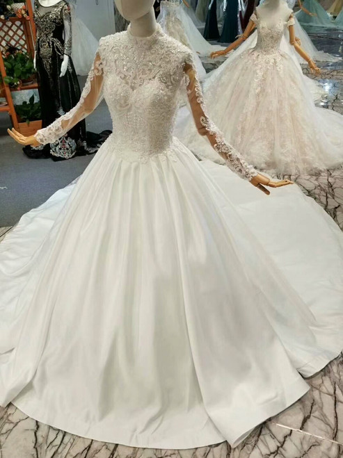 Ball Gown Satin Lace Appliques Long Sleeve High Neck Wedding Dress With Train