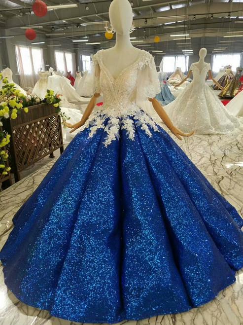 Royal Blue Ball Gown Sequins Appliques V-neck Short SLeeve Wedding Dress