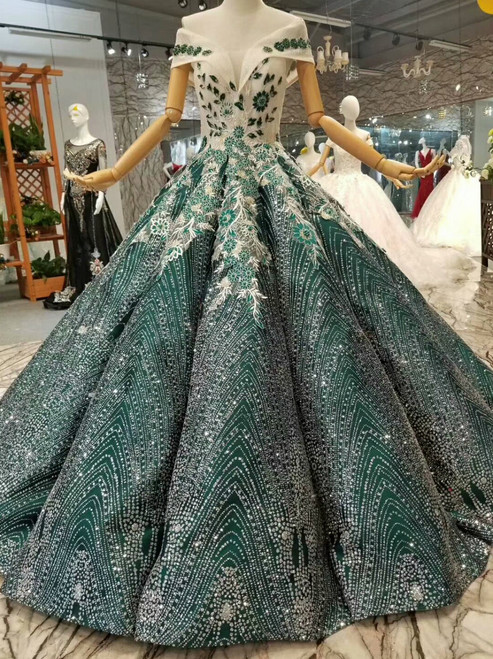 Green Ball Gown Sequins Appliques Off The Shoulder Floor Length Wedding Dress