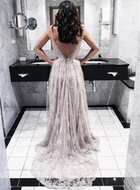 Cheap wedding dresses 2017 dress-Sexy Silver Lace Prom Dress