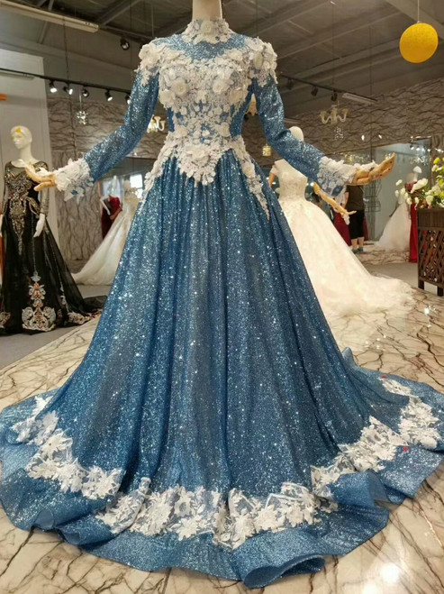 Blue Sequins Bling Bling White Appliques High Neck Long Sleeve Wedding Dress