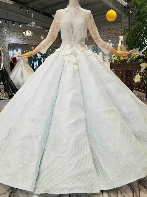 Light Blue Ball Gown Sequins Bling Bling High Neck Long Sleeve Appliques Wedding Dress