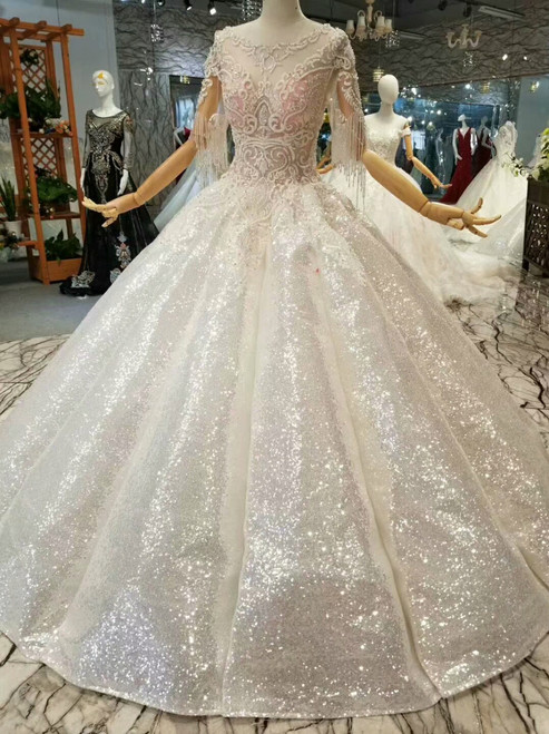 Ball Gown Sequins Applqiues Short Sleeve Beading Floor Length Wedding Dress