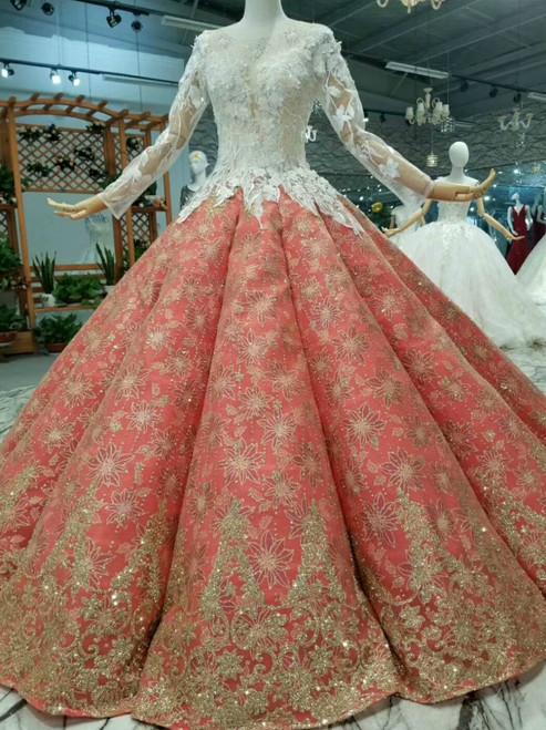 Ball Gown Sequins Appliques Long SLeeve Backless Floor Length Wedding Dress