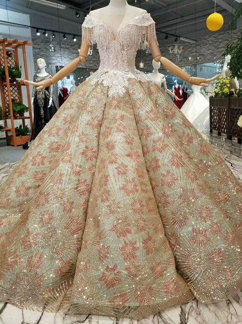 Champagne Ball Gown Sequins Bling Bling Bateau Cap Sleeve Beading Wedding Dress