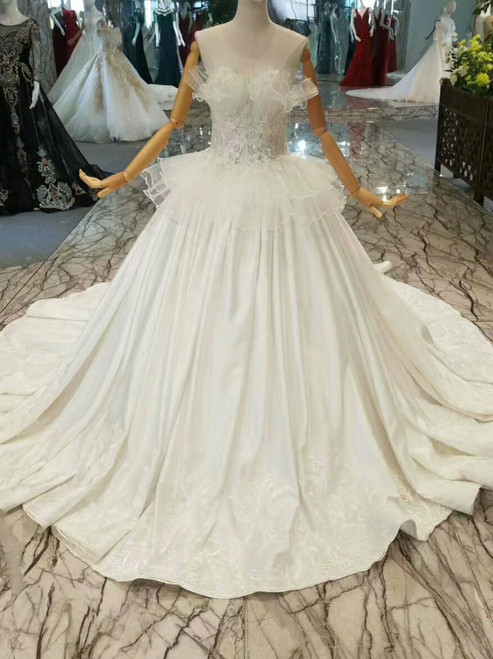 Simple Ball Gown Satin Appliques Strapless Wedding Dress