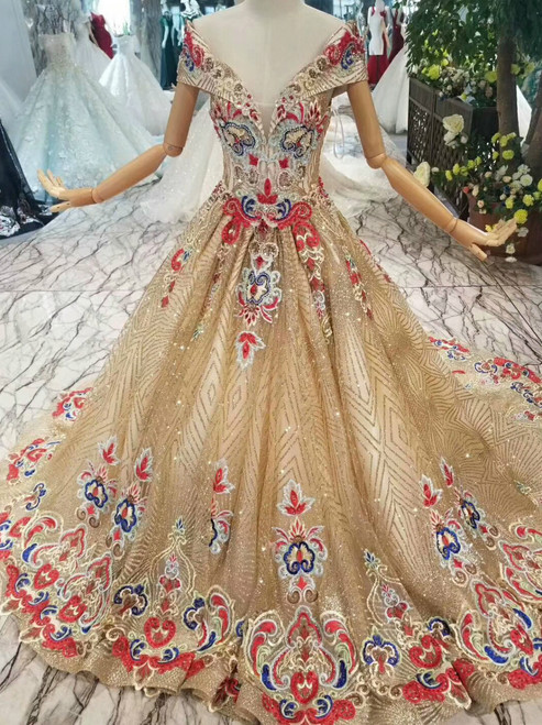 Champagne Gold Tulle Sequins Embroidery Appliques Off The Shoulder Wedding Dress
