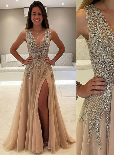 A Line Deep V-neck Chiffon Backless Prom Gown With Appliques