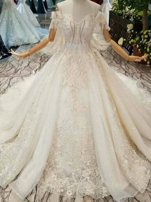 Champagne Tulle Sequins Lace Appliques Off The Shoulder Wedding Dress