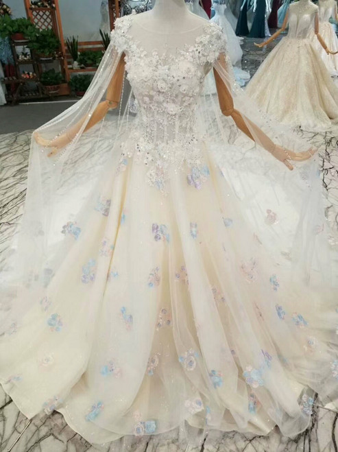 Champagne Ball Gown Tulle Appliques Cap Sleeve Backless Wedding Dress