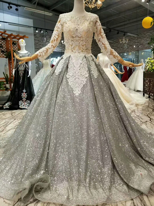 Gray Ball Gown Sequins Lace Appliques Long Sleeve Wedding Dress