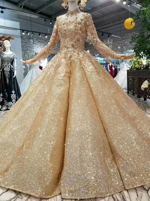Gold Ball Gonw Sequins Appliques High Neck Long Sleeve Wedding Dress