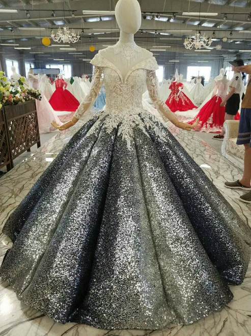 Ball Gown Sequins Appliques Off The Shoulder Floor Length Wedding Dress