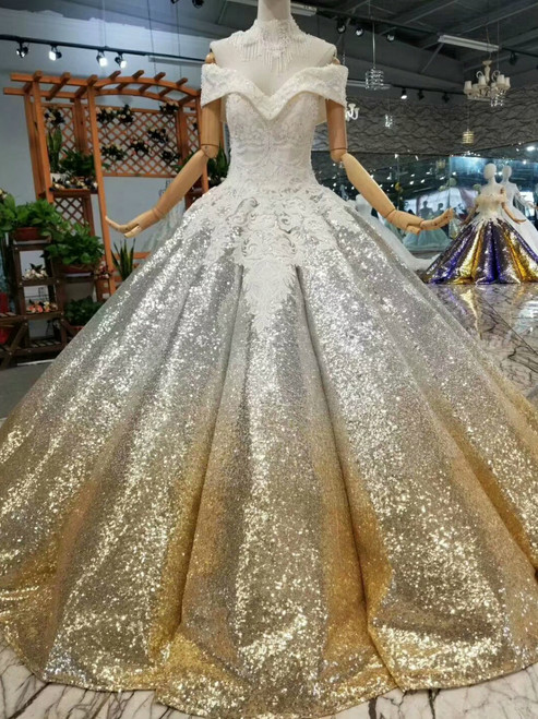 Silver Gold Ball Gown Sequins Appliques Off The Shoulder Floor Length Wedding Dress