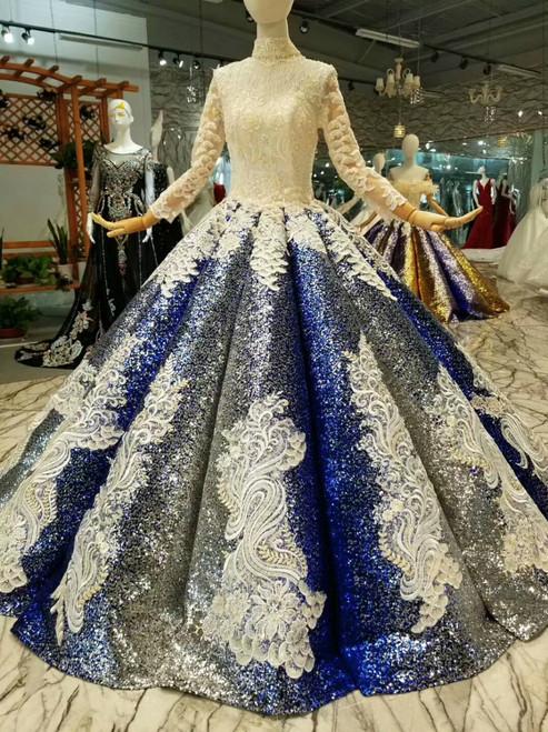 Royal Blue Sequins Appliques High Neck Long Sleeve Wedding Dress