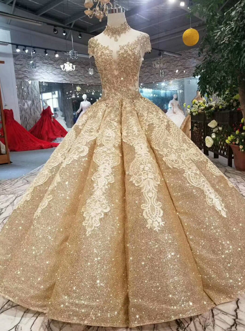 Gold Ball Gown Sequins Appliques High Neck Backless Beading Wedding Dress