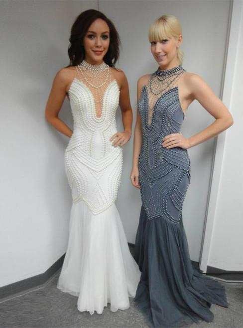 Cheap prom dresses 2017 Sexy Luxury Full Beaded Halter Neck Sheer Back